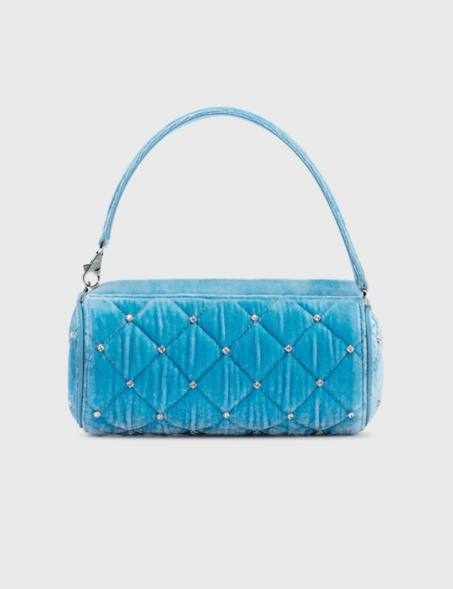 Les Petits Joueurs Bon Bon Quilted Crystal Mini Bag Baby Blue Velvet Women