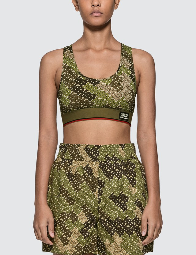Burberry Monogram Print Stretch Jersey Bra Top