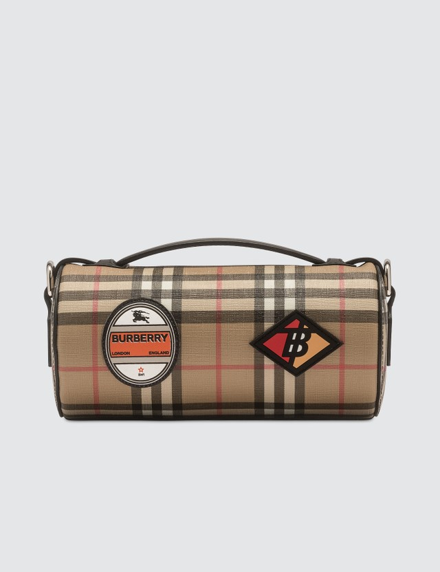 Burberry The Vintage Check E-canvas and Leather Barrel Bag