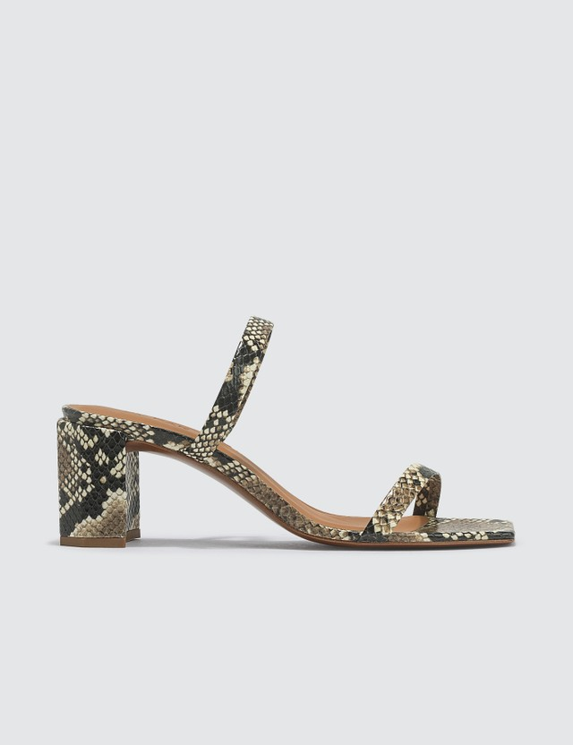 BY FAR Tanya Snake Print Leather Sandals