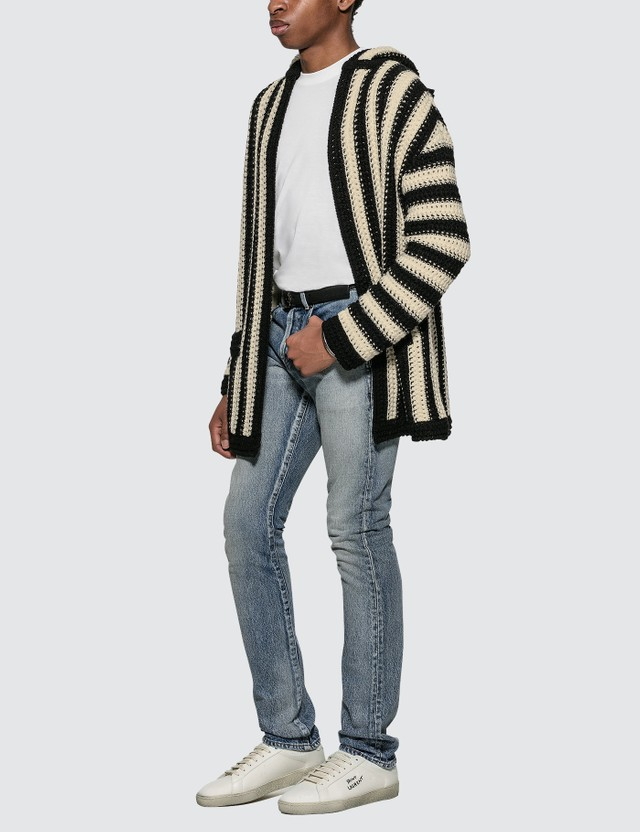 Saint Laurent Baja Hoodie Cardigan Black/white  Men