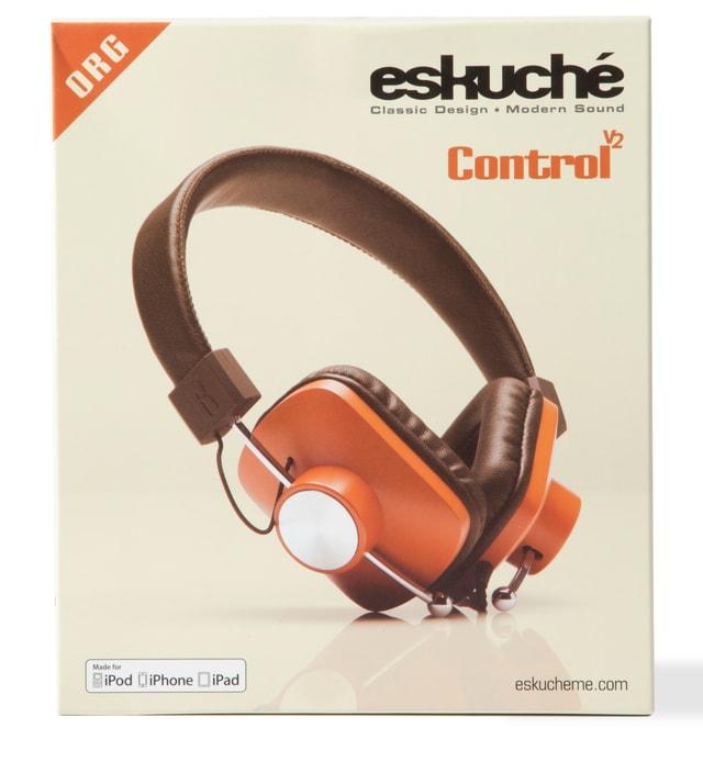 eskuché Orange/Brown Control v2: On-Ear Headphone With Apple 3 Button Mic