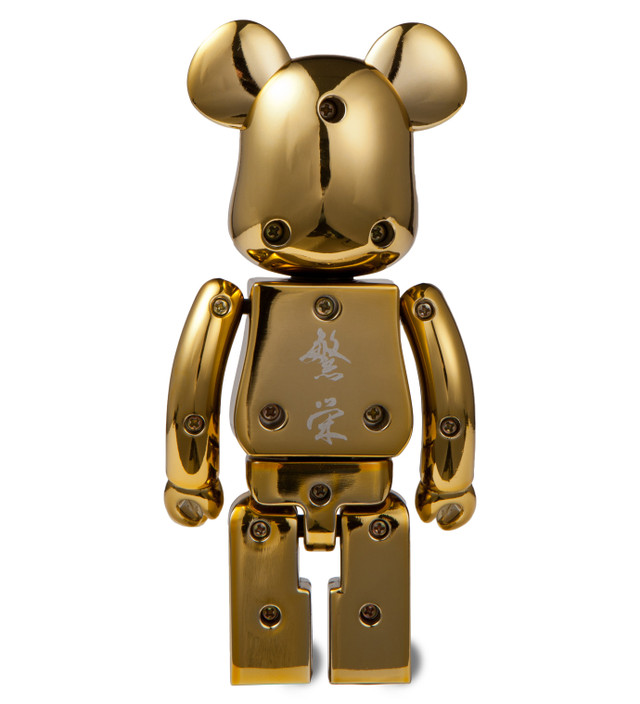 mastermind Japan x BE@RBRICK Metal 2 Pack 200% Silver Stripe/Gold Chrome
