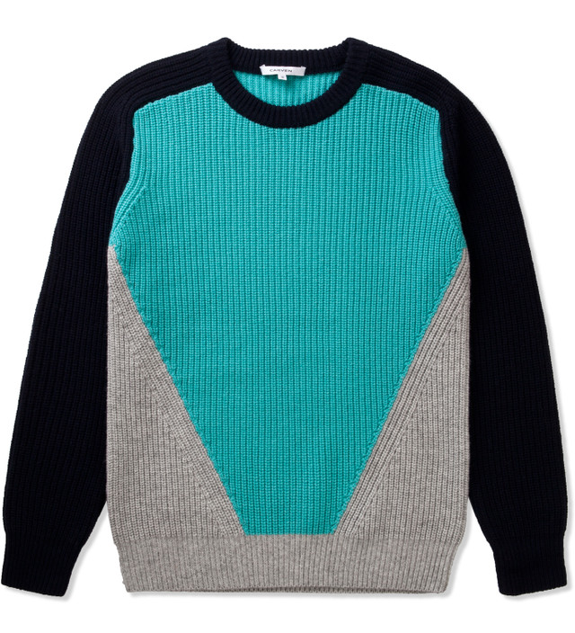 CARVEN Navy Three Coloured Knit Pullover