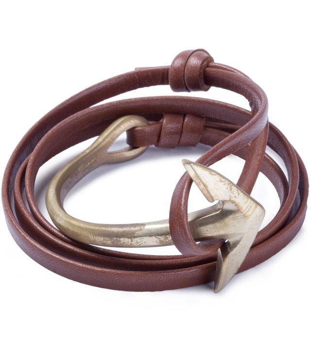 Miansai Brown Anchor Half-Cuff Brass Bracelet
