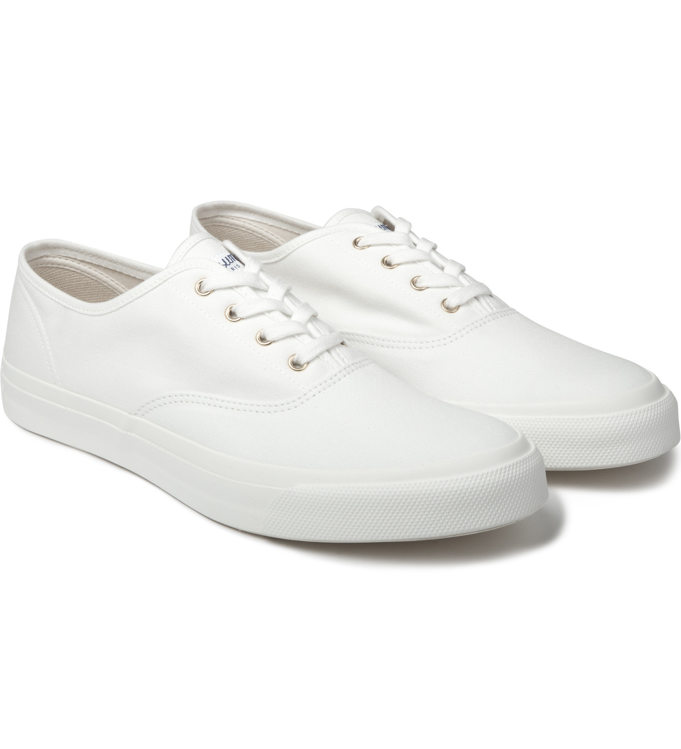 Maison Kitsune - White Canvas Sneakers