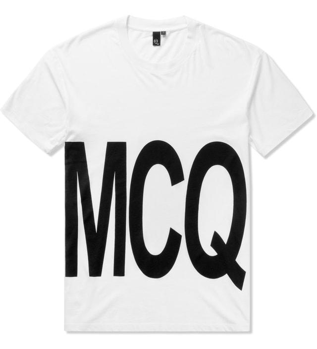 McQ Alexander McQueen Optic White Oversized MCQ Logo Dropped Shoulder T-Shirt