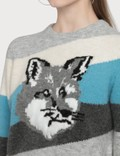 Maison Kitsune Fox Head Pullover With Diagonal Stripes
