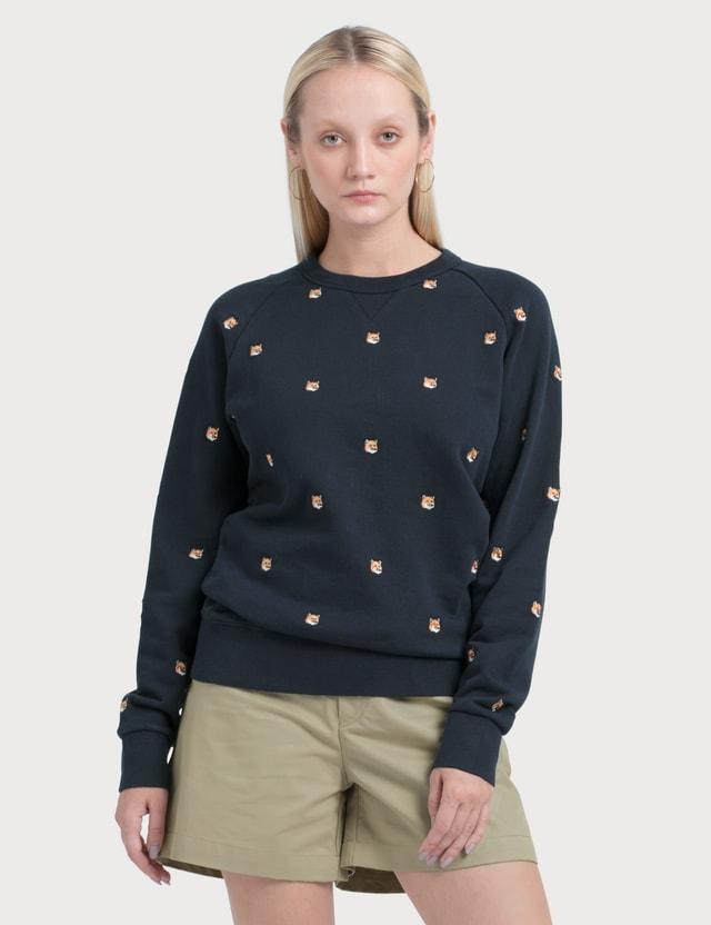 Maison Kitsune All-over Fox Head Embroidery Sweatshirt