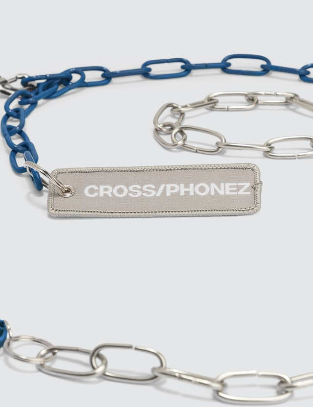 CROSS/PHONEZ Dark Blue And Silver Chain iPhone Case