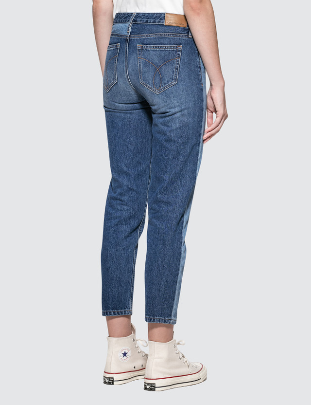 Calvin Klein Jeans Straight Ankle Jeans With Light Vert