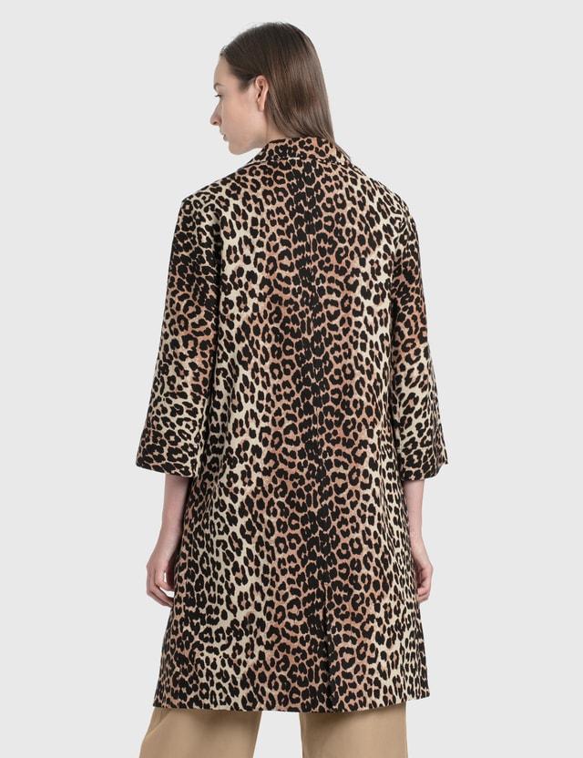 Ganni Linen Canvas Coat Leopard Women