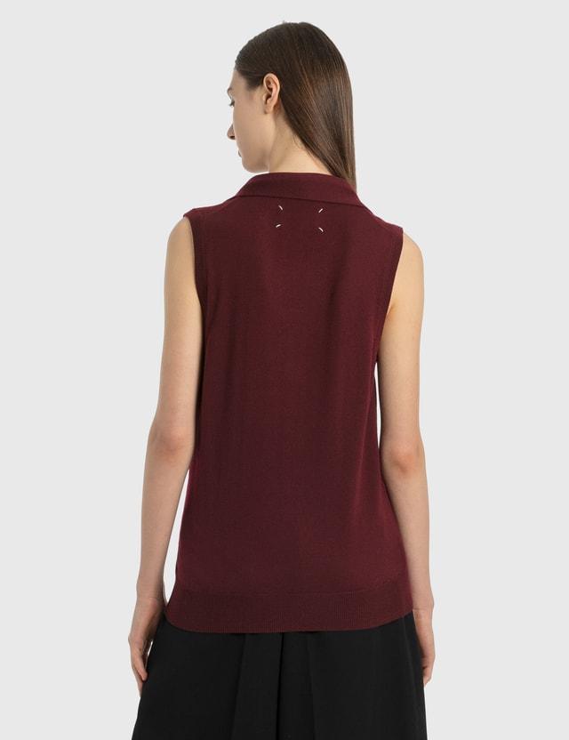 Maison Margiela Knit Vest With Tie Burgendy Women