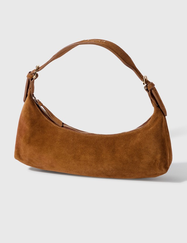 BY FAR Mara Brown Suede Leather Bag
