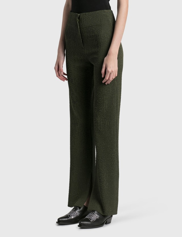 Nanushka Tabbie Checked Seersucker Pants Khaki Check Women