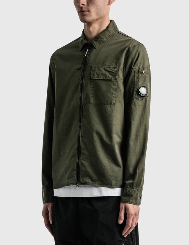 CP Company Gabardine Garment Dyed Utility Shirt Ivy Green Men