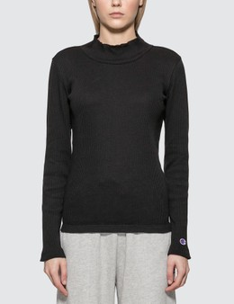 Champion Reverse Weave Ribbed Turtle Neck Long Sleeve Top