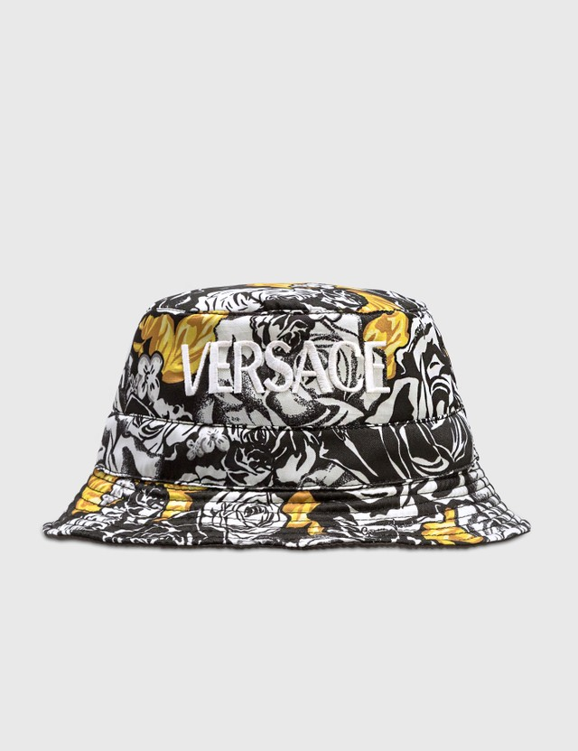 Versace Printed Bucket Hat Bianco-nero-oro Men