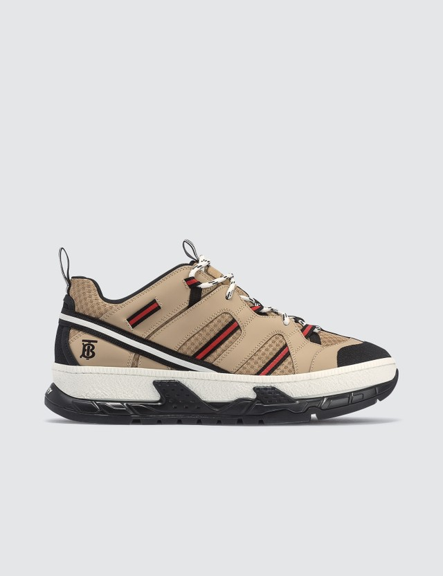 Burberry Mesh and Leather Union Sneakers