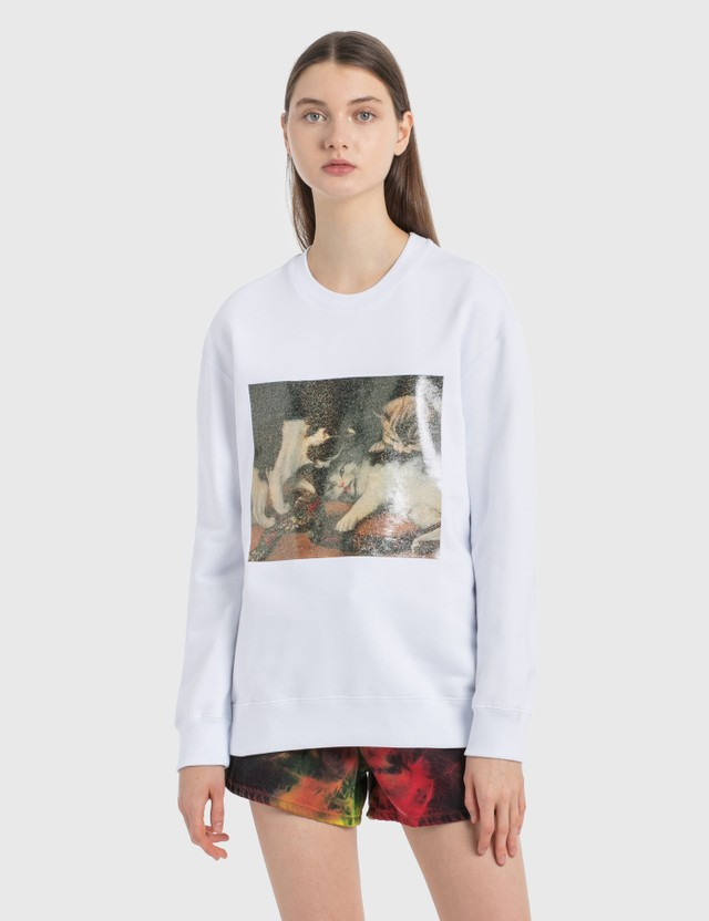 MSGM Cat Print Sweatshirt Optical White Women