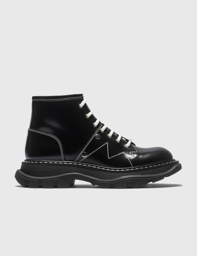 Alexander McQueen Tread Lace Up Boots Blk/ivo/blk/silver Women