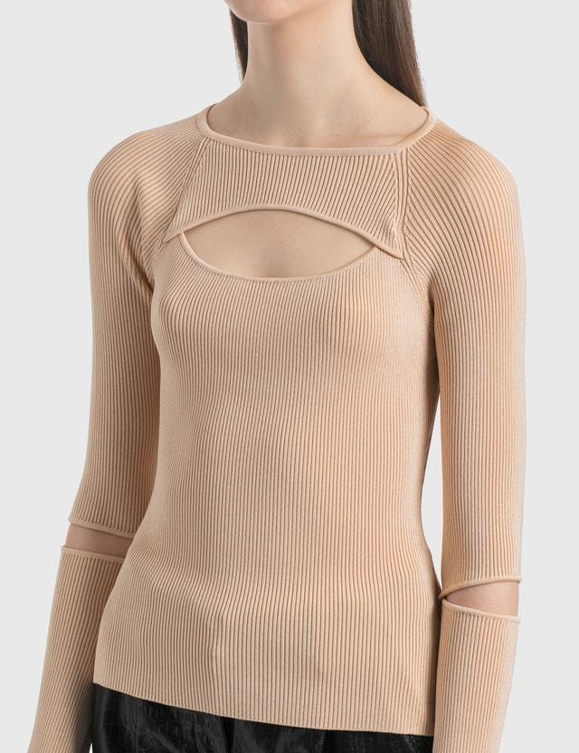 KOCHÉ Cut Out Knit Top Nude Women