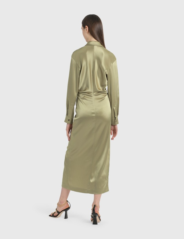 Nanushka Kinsley Slip Satin Dress Sage Women