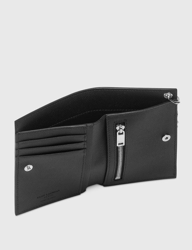 Saint Laurent Grain Leather Chain Wallet Nero Men