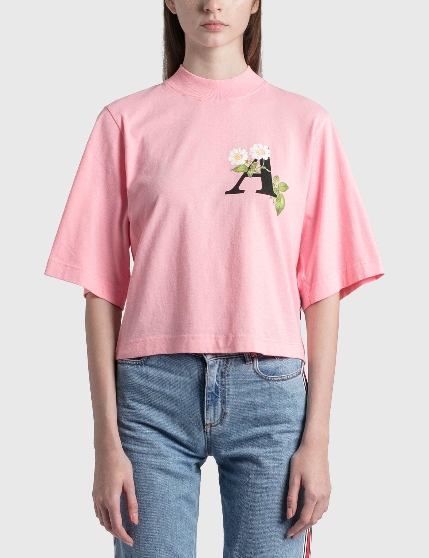 Palm Angels T-shirts DAISY LOGO CROPPED T-SHIRT