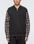 3.1 Phillip Lim Henley Sweatshirt with Flannel Over Sleeve Picutre