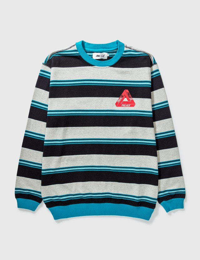 Palace Skateboards Palace Ribbed For Pleasure Crewneck Blue Archives