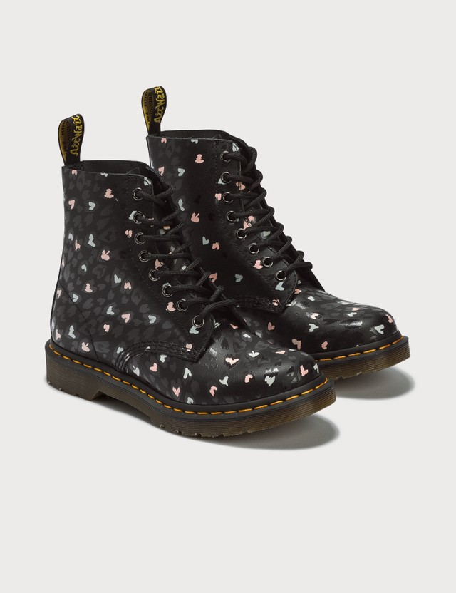 Dr. Martens 1460 Pascal Custom Chaos Hearts Leather Ankle Boots Black+multi Custom Chaos Hearts Backhand 1460 Pascal Women