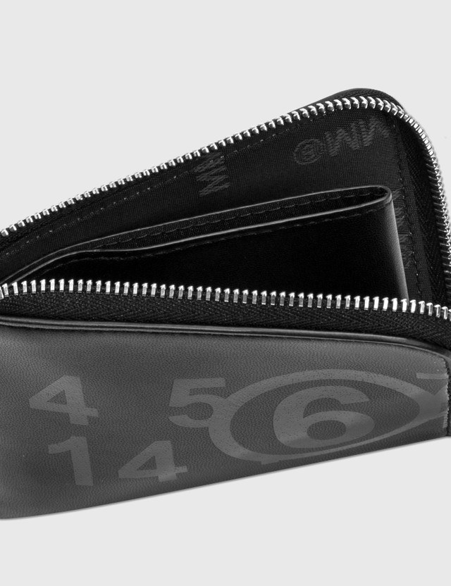 MM6 Maison Margiela Fake Leather Logo Print Zip Wallet Black Women