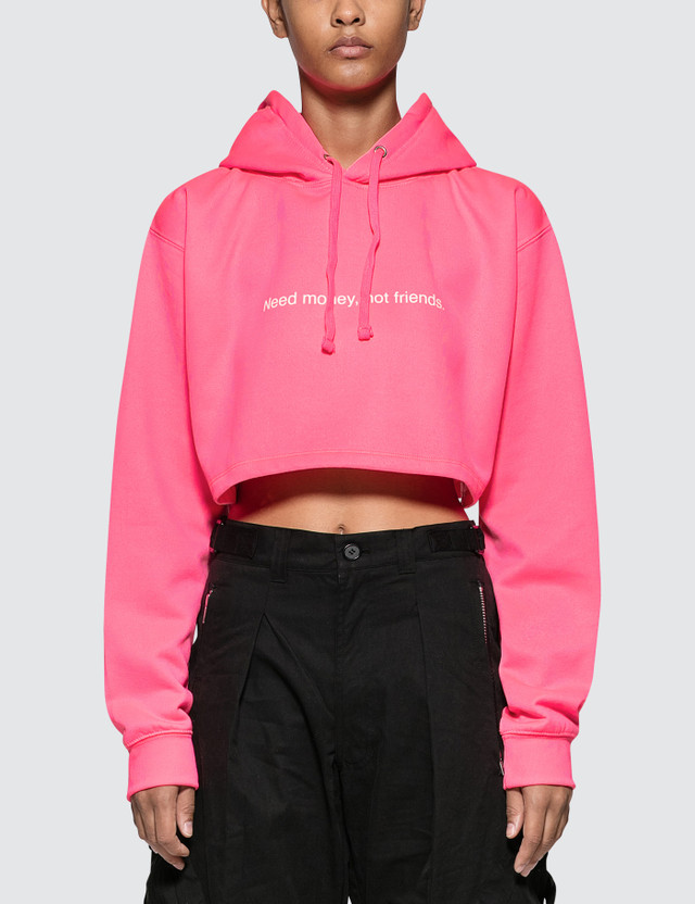 Fuck Art, Make Tees Need Money Not Friends. Neon Crop Hoodie