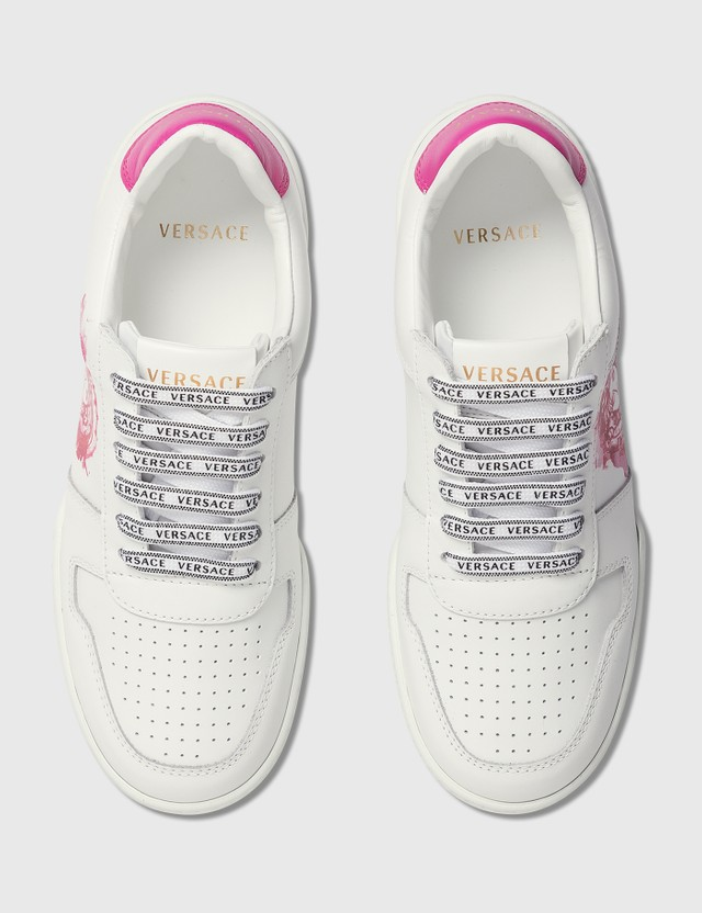 Versace Ilus Watercolor Medusa Sneakers Bianco+fuxia Women