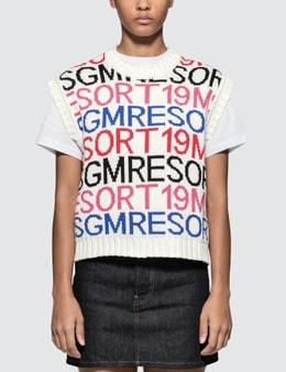 MSGM Iconic Lettering Jacquard Cotton Knit Vest