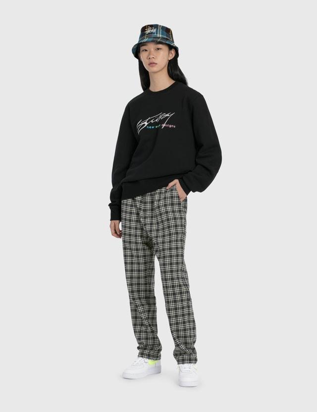 Stussy New Weave Designs Applique 크루 스웨트셔츠 Black Women