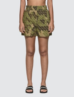 Burberry Monogram Print Cotton Poplin Shorts