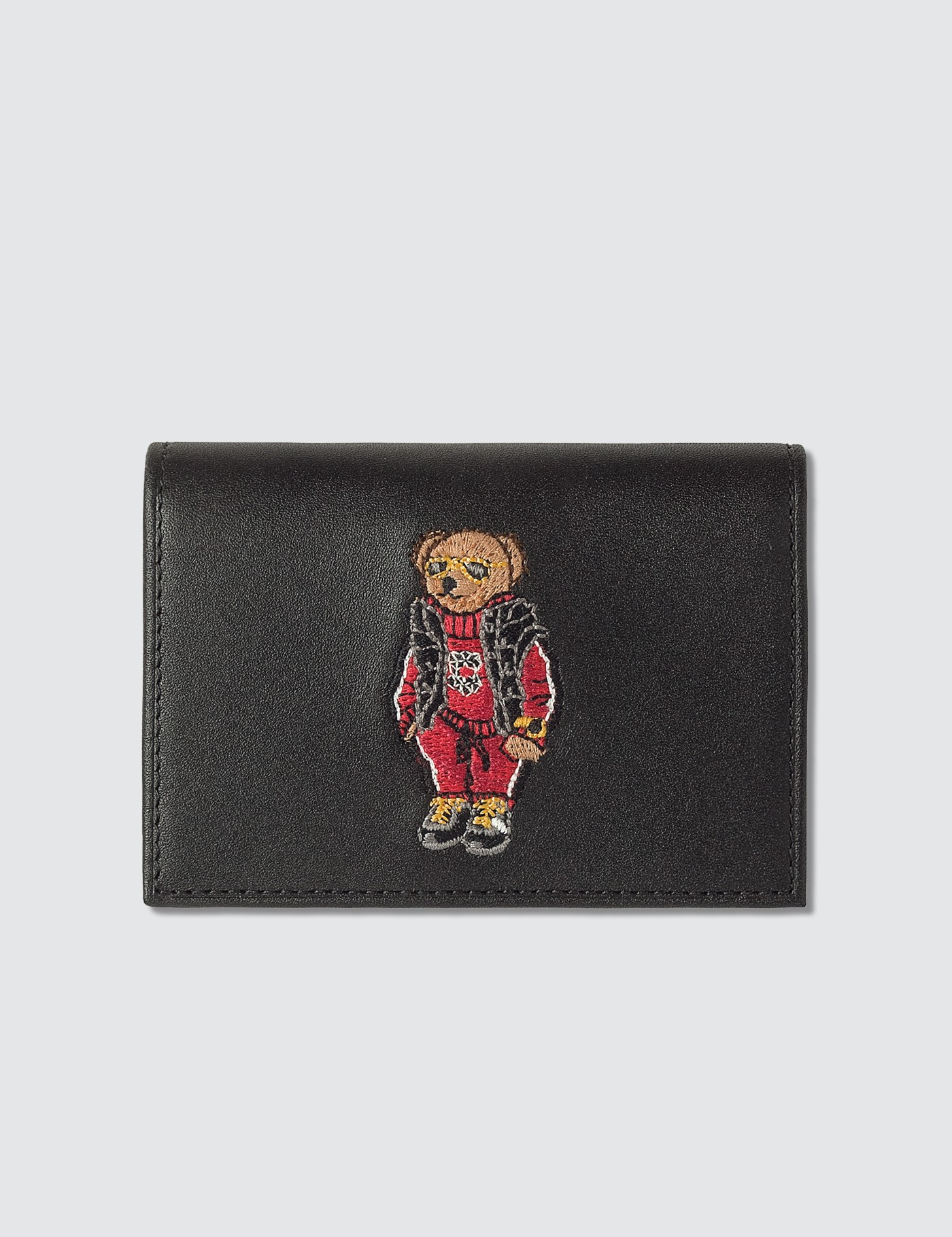 Black Embroidered Polo Bear Card Holder