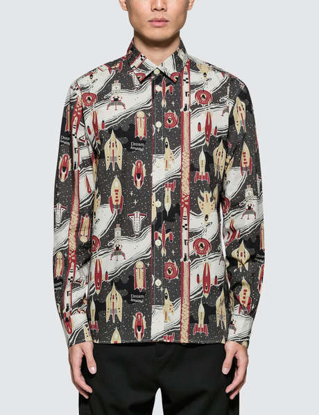 메종 키츠네 Maison Kitsune All-Over Dream Amplifier Classic Shirt