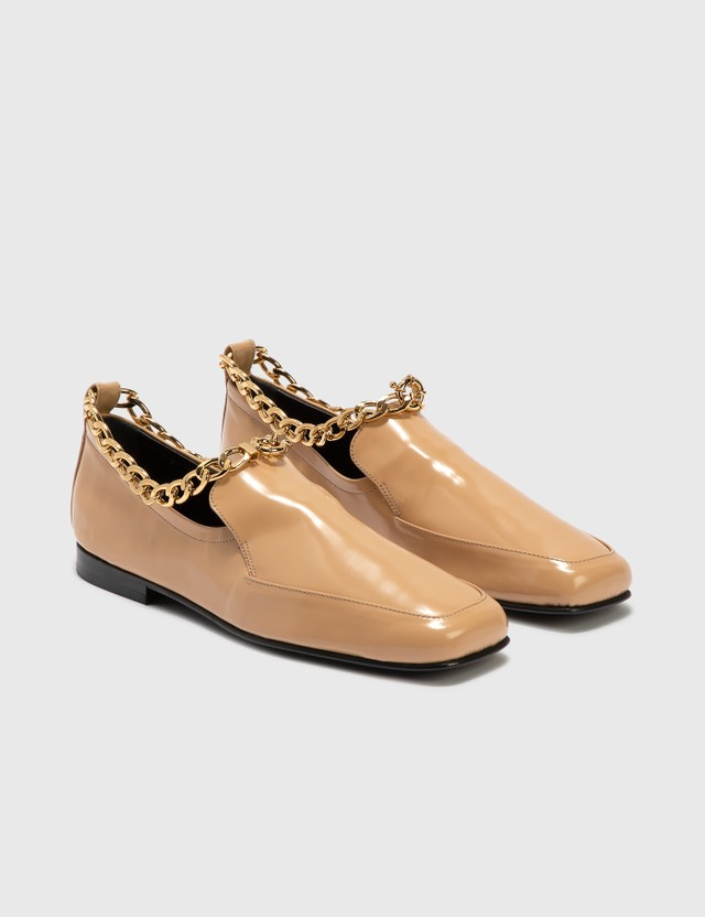 BY FAR Nick Cream Semi Patent Leather Loafer