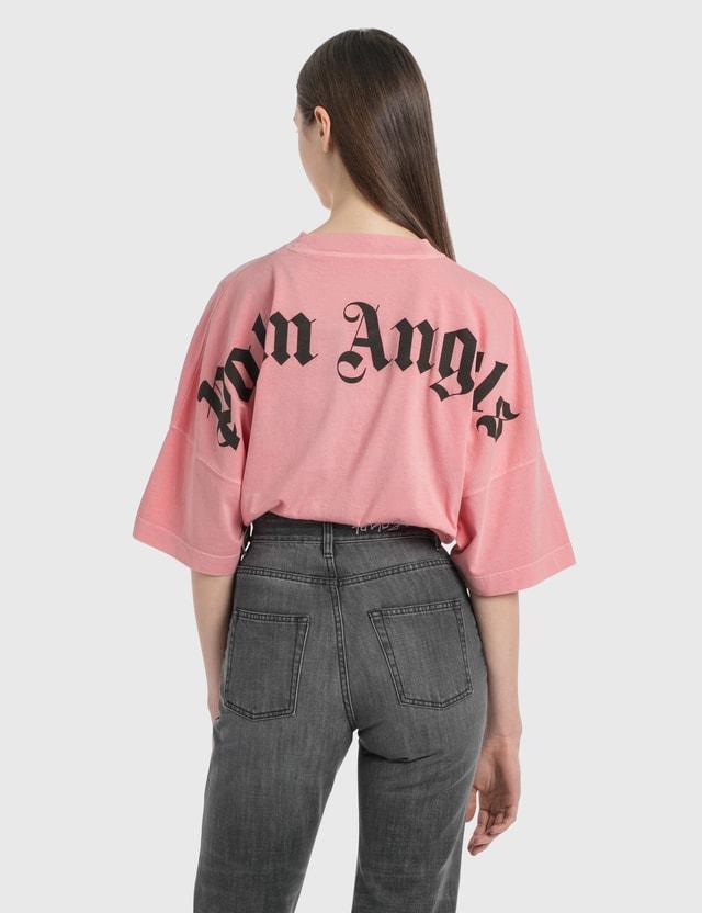 Palm Angels 로고 티셔츠 Pink Black Women
