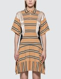 KOCHÉ Fitted Polo Dress Beige Stripes Women