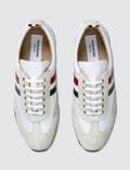 Thom Browne Running Shoe W/ RWB Stripe In Suede + Cotton Blend Tech
