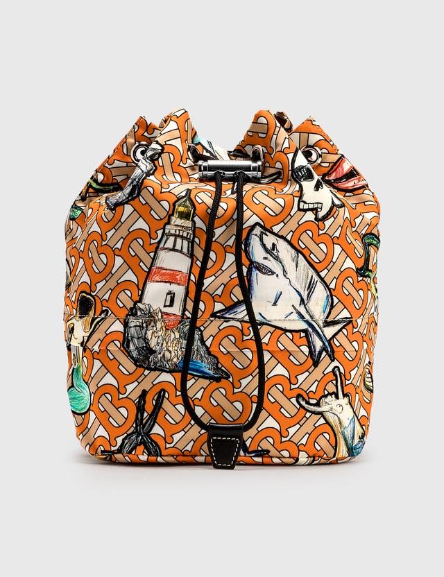 Burberry Shark Graphic Nylon Drawstring Bag Orange Women