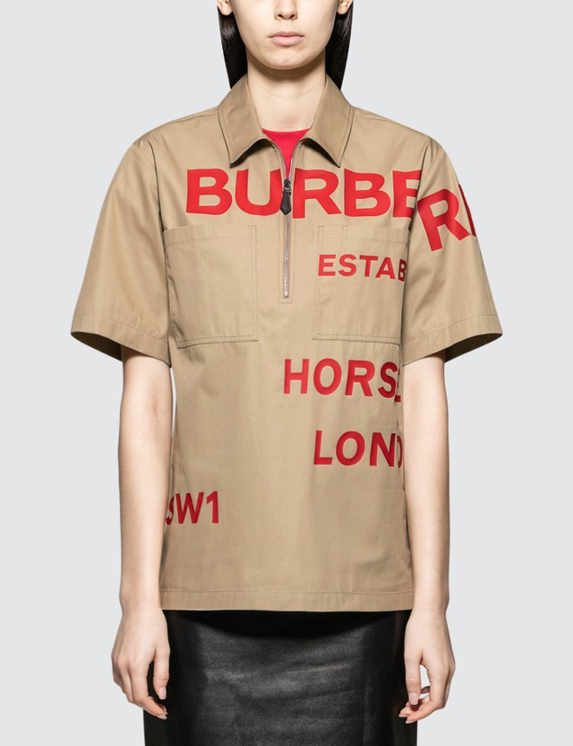 Burberry Burberry Logo Zip Short Sleeve Shirt