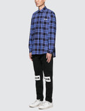MSGM L/S Check Shirt Blue Men