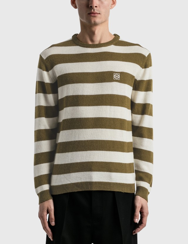 Loewe Stripe Anagram Sweater White/khaki Green Men