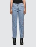 MSGM Ribbed Msgm Logo Light Blue Washed Jeans Picutre