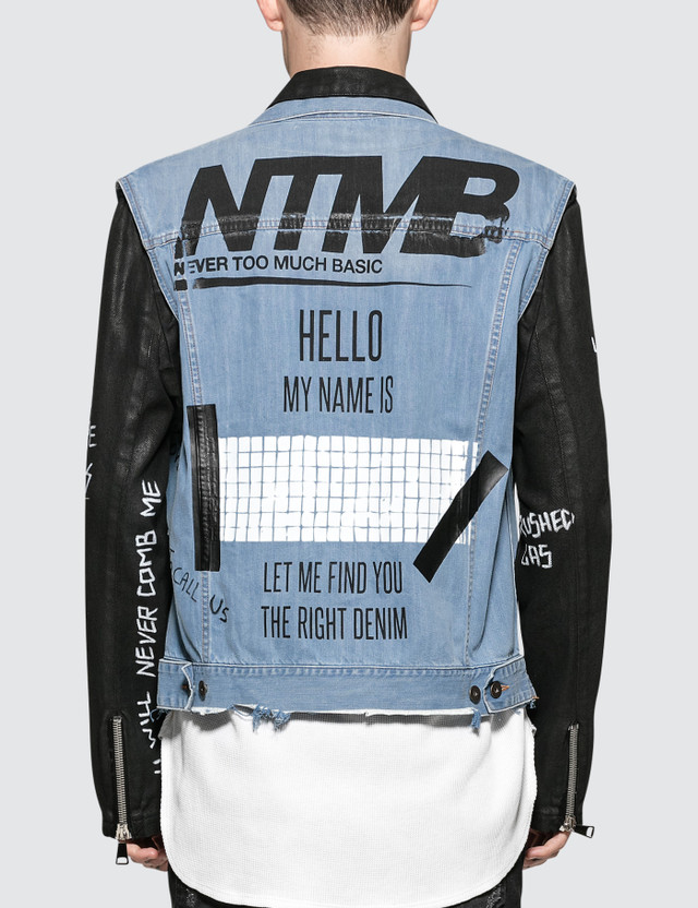 Faith Connexion NTMB Scribble And Patch Leather Jacket